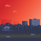 Bright red sunset over City Royalty Free Stock Image
