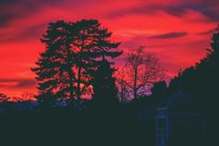 Bright red sunset sky Stock Images