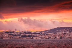 Bright red sunset sky over Tangier city, Morocco Royalty Free Stock Image