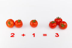 Bright red tomatoes and numbers Royalty Free Stock Photos