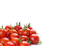 Bright red tomatoes  on a white background. cherry tomat Stock Images
