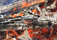 Bright red tongues of flame. And glowing white-hot coals Stock Image