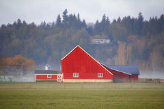 Bright Red Traditional Farm Building Royalty Free Stock Photography