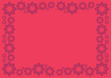 Bright Red Vector Background with Floral Border Stock Photos