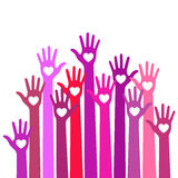 Bright red violet colorful caring up hands hearts vector logo.  Stock Photography