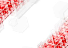 Bright red and white abstract technology background. Vector geometric minimal design Royalty Free Stock Photos