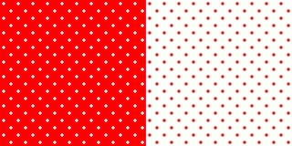 Bright red and white retro design polka dots background pattern, two inverted tiles. Bright red traditional retro design polka dot pattern, two inverted tiles in royalty free illustration