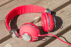Bright red wired headphones Royalty Free Stock Images