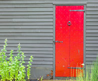 Bright red wooden door with iron door knocker and nail decoration in wall of colonial building Royalty Free Stock Photo