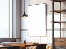 Bright restaurant interior with canvas. 3d rendering Stock Photo