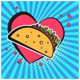 Bright retro comic speech bubble with taco symbol vector illustration