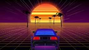 Bright retro futuristic world of computer space in the style of science fiction of the 80s. The movement of a futuristic car in virtual space. Looped stock illustration