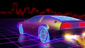 Bright retro futuristic world of computer space. In the style of science fiction of the 80s. The movement of a futuristic car in virtual space. Looped vector illustration