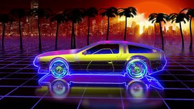 Bright retro futuristic world of computer space. In the style of science fiction of the 80s. The movement of a futuristic car in virtual space. Looped stock illustration