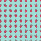Bright retro seamless pattern with berries. Raspberries on blue background can be used for cards, gifts paper, textile, prints. Royalty Free Stock Photos
