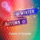 Bright ribbon with winter and autumn arrow, icons Stock Photo