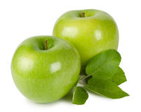 Bright ripe apples with leaves Royalty Free Stock Photos