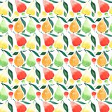 Bright ripe juicy pears orange green red and yellow colors with green leaves pattern watercolor. Hand illustration Royalty Free Stock Photos