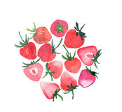 Bright ripe juicy strawberries group watercolor hand sketch Royalty Free Stock Photo