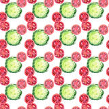 Bright ripe tasty delicious beautiful agriculture summer salad green cabbage and red tomatoes chopped and sliced pattern watercolo. R hand illustration. Perfect Royalty Free Stock Images