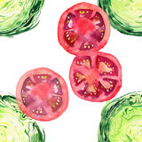 Bright ripe tasty delicious beautiful agriculture summer salad green cabbage and red tomatoes chopped and sliced pattern watercolo. R hand illustration. Perfect Royalty Free Stock Image