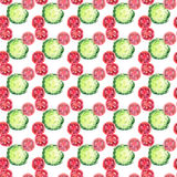 Bright ripe tasty delicious beautiful agriculture summer salad green cabbage and red tomatoes chopped and sliced pattern watercolo Stock Images