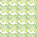 Bright ripe tasty delicious beautiful tropical summer desert kiwi fruit chopped and sliced pattern watercolor hand illustration. Perfect for menu, textile Royalty Free Stock Photo