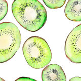 Bright ripe tasty delicious beautiful tropical summer desert kiwi fruit chopped and sliced pattern watercolor hand illustration. Perfect for menu, textile Stock Photo