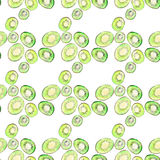 Bright ripe tasty delicious beautiful tropical summer desert kiwi fruit chopped and sliced pattern watercolor hand illustration. Perfect for menu, textile Royalty Free Stock Photography