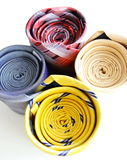Bright rolled ties isolated Stock Photo