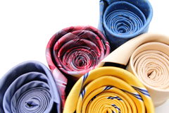 Bright rolled ties isolated on a white Royalty Free Stock Photography