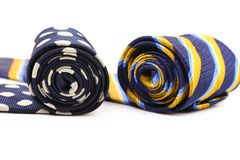 Bright rolled ties. Stock Photo