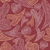 Bright romantic seamless pattern with lace hearts. Bright romantic seamless pattern based on hand drawn lace hearts. Great for Saint Valentine's Day cards Stock Photo