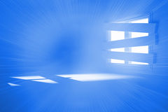 Bright room with bordered up window. Bright blue room with bordered up window Stock Images