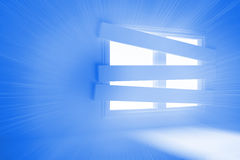 Bright room with bordered up window. Bright blue room with bordered up window Royalty Free Stock Images