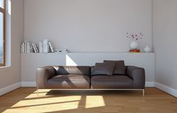 Bright room with brown leather sofa. 3d Illustration Stock Images