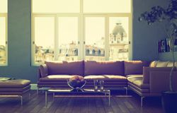 Bright room with brown leather sofa and table. 3d Illustration Stock Photos