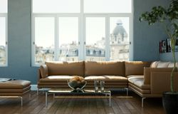 Bright room with brown leather sofa and table. 3d Illustration Royalty Free Stock Photos