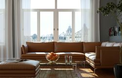 Bright room with brown leather sofa and table. 3d Illustration Royalty Free Stock Photography