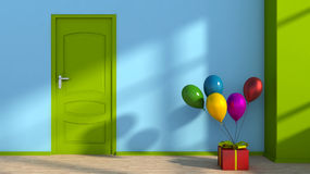 Bright room with gift box and colorful balloons Stock Photos