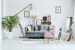 Bright room with watercolor pictures. Bright room with botanical watercolor pictures, plants and flowers stock photography