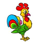 Bright rooster cartoon illustration Royalty Free Stock Photography