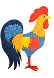 Bright rooster. Bright ornamented rooster painted in gouache on a white background Stock Photos