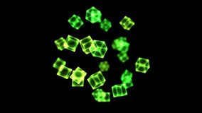 Bright Rotating Cubes - Loop Green stock video footage