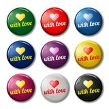 Bright round labels with hearts. Shape and words `With love`. Valentines day signs for web sites. Vector symbols isolated on white background Royalty Free Stock Image