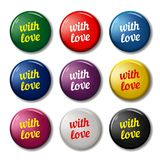 Bright round labels with words. `With love`. Valentines day signs for web sites. Vector symbols isolated on white background Royalty Free Stock Photos
