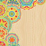 Bright Rounds At Ethnic Background. Abstract background with bright rounds ethnic patterns. Copy space for your special text. Pattern for greeting cards Royalty Free Stock Photo