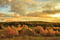 Bright rural autumn landscape at sunset Royalty Free Stock Photos