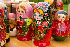 Bright Russian Matrushka puzzle Dolls Royalty Free Stock Photo