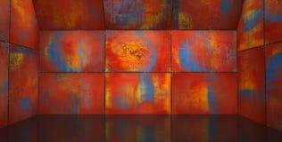Bright Rusty Metal Room Stock Photo